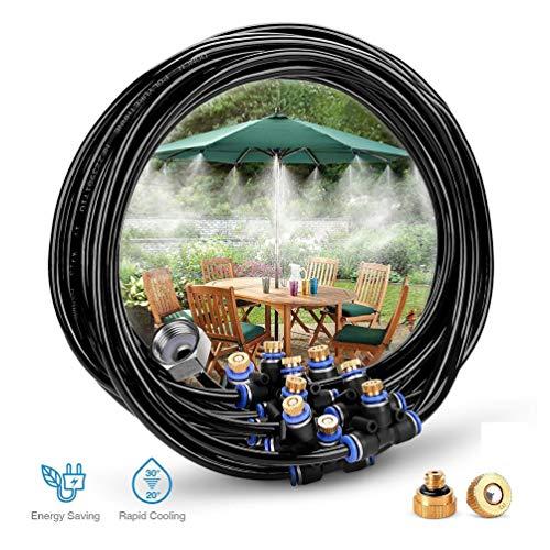 Lykke. Vernebelungskühlsystem 9 Nebeldüsen 3/4 Zoll Metallgewindeadapter Bewässerungs Kits für Patio Garden Patior Gewächshaus Trampolin für Waterpark -