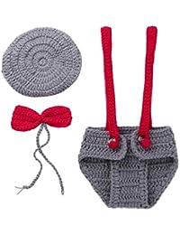 8ac26bb07f6d iiniim Bébé Naissance Adorable Photographie Costume Gentleman Jumpsuit  Photo Props Crochet Tricoté en Fil de laine Tenues Noël Garçon…
