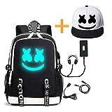He-Bag Marshmallow Backpack DJ Lumineux avec Port de Charge USB, Sac à Dos pour Ordinateur Portable de Mode Unisexe