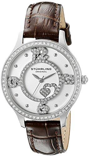 Stuhrling Original - Chic - 760.01 - Montre bracelet - Quartz - Affichage - Analogique - Bracelet - Cuir - Marron foncé - Cadran - Argent - Femme