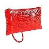 Weant Femmes Crocodile Sac à main en cuir d'embrayage Sac à main femmes en cuir de crocodile main d'embrayage sac à main de Coin (Rouge)