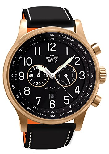 Davis 1940 - Mens Aviator Watch Rose Gold Case Chronograph Waterresist 50M Black Dial Date Black Leather Strap