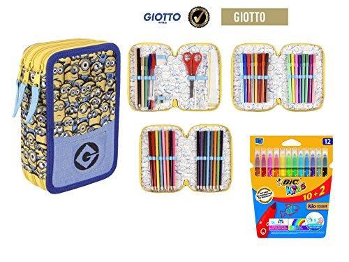 Plumier estuche cremallera triple 3 pisos Minions 43 piezas contenido Giotto + REGALO 12 Rotuladores BIC Kids