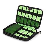 Elektronik Zubehör Tasche, ATailorBird Ipad Mini 7,9 Zoll Aufbewahrungstasche Wasserdicht für USB, Handy, Ladegerät, Kabel Organizer Tasche Reise Kosmetiktasche, Schwarz und Grün