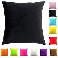 Easondea Fundas de Cojín de color sólido Square Decorativos para Sofá Cama Coche Fundas Cojines Funda de Almohada Negro 55X55CM