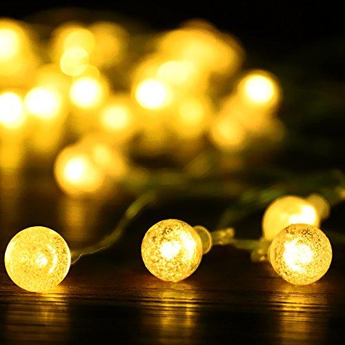 eSky24 Kugel-Lichterkette mit 50 LED, 5 Meter Batteriebetrieb Beleuchtung für Weihnchaten, Hochzeit, Party (Warmweiß)