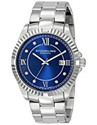 Stuhrling Original Regent Nautic Men's Quartz Watch with Blue Dial Analogue Display and Silver Stainless Steel...