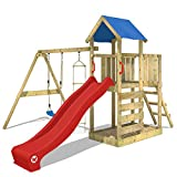 WICKEY Klettergerüst FastFlyer Spielturm Kletterturm mit Schaukel und Rutsche, Strickleiter und Sandkasten, rote Rutsche