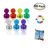 60 Stücke Farbige Magnete, Aitsite Bunte Magnetische Map Pins und Notizbuch, Transparente Whiteboard Magnete, Tafelmagnete in 7 Farben, Magnet Push Pins für Kühlschränke, Magnettafel und Whiteboards