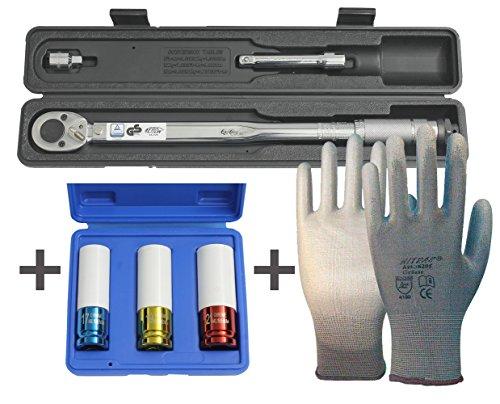 Börsch-Werkzeuge Normex Drehmomentschlüssel 28-210 Nm inklusive 3 Normex Schlagschrauber-Schoneinsätze und einem Paar Nitras Nylon-Handschuhe
