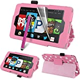 """CreatValu Fire HD 6 Tablet (2014 Oct Release) Case - Auto Sleep / Wake Leather Case Pouch for Amazon Kindle Fire HD 6"""" Slim Flip Leather Standing Protective Cover Fire HD 6 inch 4th Generation 2014 model (Wi-Fi 8GB & 16GB) - Pink Polka"""