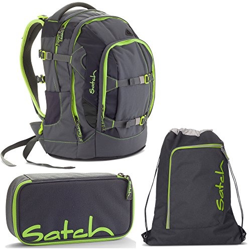 Satch Pack by Ergobag Phantom 3er Set Schulrucksack + Schlamperbox + Turnbeutel -