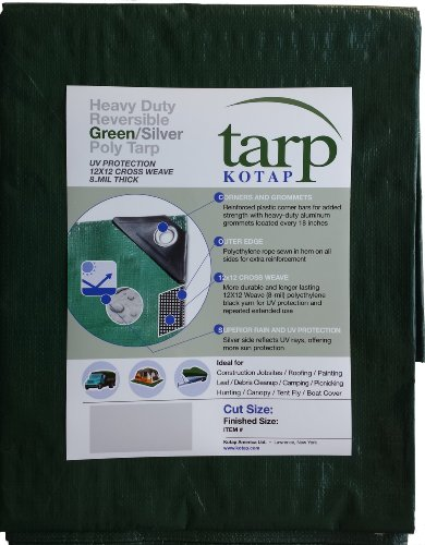 Kotap 10-ft x 15-ft Heavy-Duty 12 by 12 Cross Weave 8-mil Reversible verde/argento Poly Tarp, Item: TGS-1015 - Argento Poly Tarp