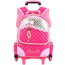 Zhhlaixing Gran Capacidad Trolley Backpack Colegio Bolsas con Ruedas Estudiantes Encantador Mochila para Chicas Escuela Primaria