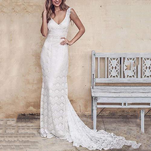 TianranRT Frauen Kleid Rock,Mode Lange Rückenfreie Strand Hochzeit Kleid Sexy V-Ausschnitt Volle Spitze Für Frauen,Weiß(L) -