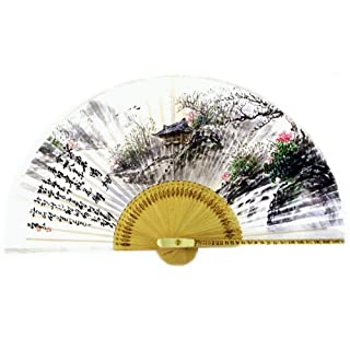 Hand Painted Folding Landscape Painting of Riverside Pavilion in Spring Korean Mulberry Rice White Paper Bamboo Art Handheld Decorative Fan