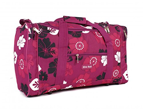 Ladies Designer Holdall Floral Shoulder Bag Weekend / Flight / Maternity / Gym (Pink)