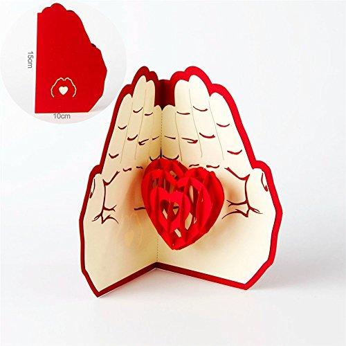 Mother 's Day Grußkarten Postkarte Umschlag für Vatertag, Tag der Kinder und Weihnachten Tag  Valentinstag, neuen Jahr Grußkarte Versandtaschen (Love in der Hand) (1Stück)