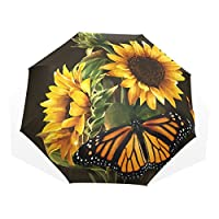 COOSUN Sunflower And Butterfly Photo Custom Foldable Sun Rain Umbrella Wind Resistant Windproof Folding Travel Umbrella