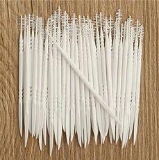 fashionstudio1 Plastic Double-headed Oral Care Dental Brush Floss Pick Teeth Sticks - Pack of 250