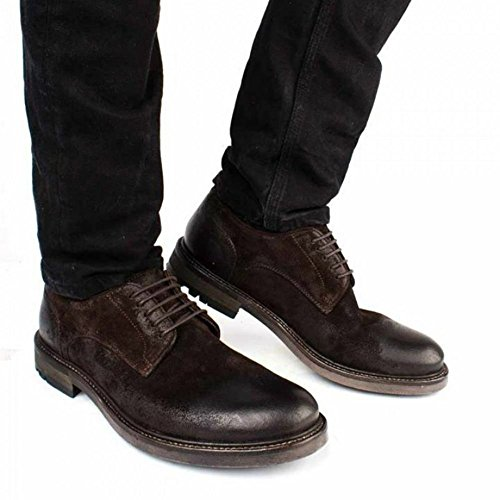 Base London Chaussure Hommes Lié Sneaker Cuir Ingrassata Crosta Brown Marron