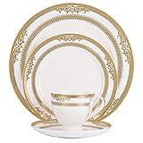 4Pcs Servizio Di Piatti In Porcellana -Minimalista E Piatto Da Insalata Bistecca In Ceramica Occidentale Minimalista Bianco Con Bordo Oro, Tazza Da Caffè E Piattino
