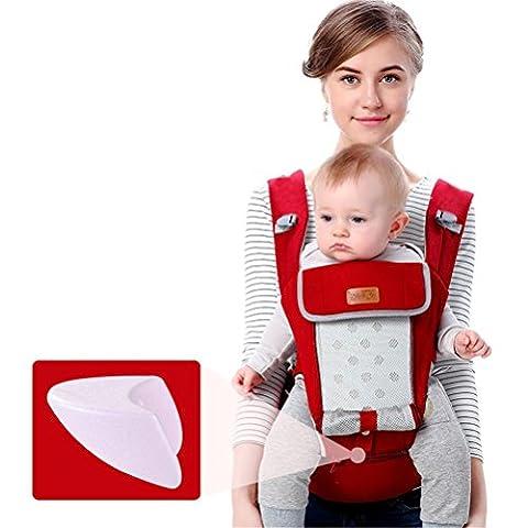 Baby-Träger Breathable Hüft-Sitzträger Ergonomisches Design mit abnehmbarem Sitzgurt Verstellbare Neugeborene Portable Multifunktions-Rucksackträger für vier Jahreszeiten Max 20kg , red