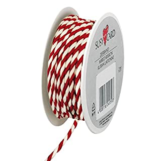 Susy Card 40003542 Christmas Cord, 2MX3 MM Lido, Small Textile Cord Reel, Pack of 1, Red/White