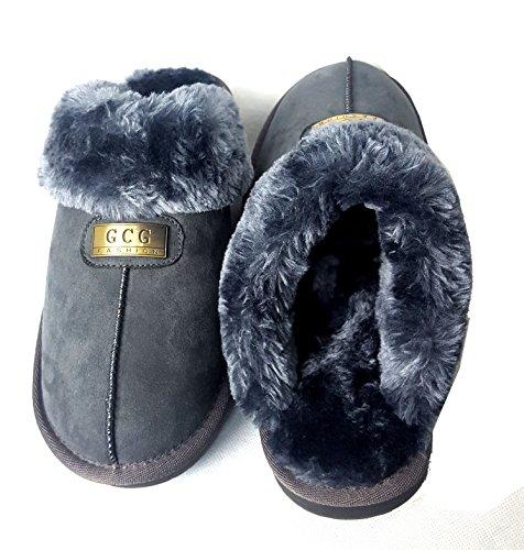 aus echtem GCG Damen Faux Pelz Hausschuhe Pantoletten rutschfeste Hartschale Sohle Damen, Synthetisch, camel, 6 Grau