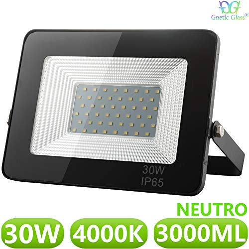 Foco LED exterior Floodlight 30W GNETIC GLASS Proyector Negro Impermeable IP65 3000LM...