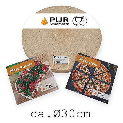PUR Schamotte Pizzastein rund 30 cm x 30 mm Für Gasgrill, Für Grill, Brotbackstein...
