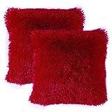 MIULEE Set of 2 Cuscini Divano Decorativo Fodere Cuscini Lussuoso Arredo Casa per Divano Letto Auto 18 X18 Pollici 45 X 45 cm Rosso