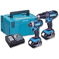 Makita DLX2131 Makita DLX2131 18V Li-ion LXT DHP482 Combi and DTD152 Impact KIT (2 X 3.0ah) 6 Blue by Makita