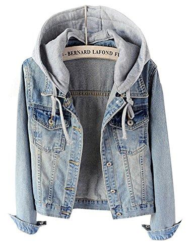 CYSTYLE 2018 Frauen Mäntel Herbst und Winter Damen Jeansjacke Vintage Mädchen Denim Jeans Jacke Mantel Beiläufige Outwear mit Kapuzen (Hellblau, EU S=Asia L) -