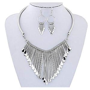 Juland Statement-Lätzchen-Halskette mit Metall-Fransendrop-Halsreif Halskette Ohrringe Set Böhmische Mode Punk Ethnic Style für Frauen und Mädchen – Silber