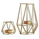 2-teiliger / ein-Set Kerzenständer Schmiedeeisern geometrische Form, goldene Kerzenständer als Tischdekoration (Klein + Groß)