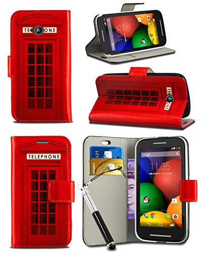"Price comparison product image Huawei P20 Lite (2018) 5.84"" Screen - MobiBax Prime New Fresh Printed Wallet Case Cover Creative Fresh Pattern Design with Integrated Stand & RETRACTABLE Stylus Pen - Red Telephone Booth Box"