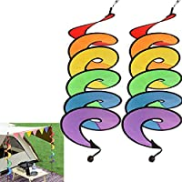 Shengchu 2-Count Rainbow Wind Curlie Spinner Festival Outdoor Camping Decor
