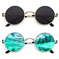 CGID E01 Small Retro Vintage Style John Lennon Inspired Circular Circle Metal Rimmed Round Polarized Sunglasses Goggles Shades for Women and Men 2 Pack Black and Green Lens