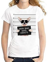 Longra Stampata Shirt… Bianca T Grezzo stampa Compagnia DogBasic Con Scollo Bad Da Shirt Maniche E Donna 3dCani j3R5c4LqA
