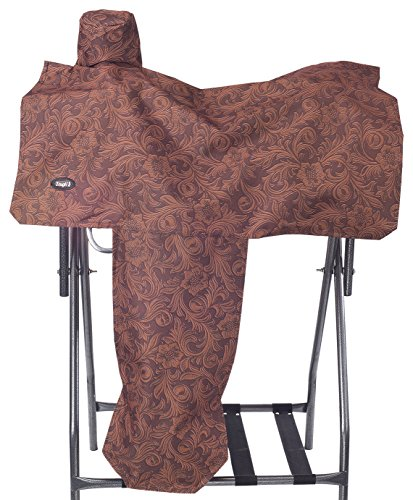 Tough 1 Heavy Denier Nylon Saddle Cover in Prints, Tooled Leather Brown