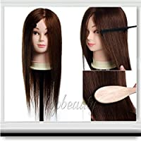 Aridox(TM)2015 New 20 inch 100% Real Hair Training Head Hairdressing Cosmetology Mannequin + Clamp C10