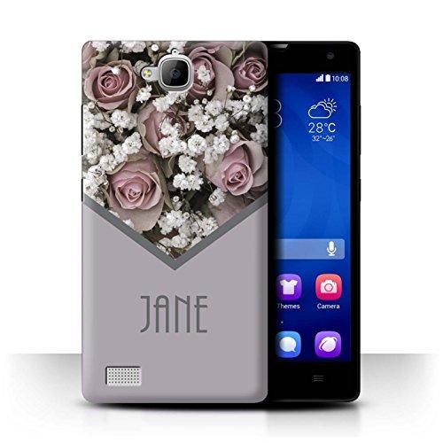 Stuff4® Personalisiert Individuell Blumen Hülle für Huawei Honor 3C / Rosa Blumenstrauß Design/Initiale/Name/Text Schutzhülle/Case/Etui