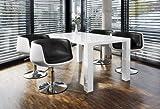 Esstisch-Gruppe weiß Hochglanz 180x90 cm recht-eckig mit 6 Studio 54 Design Stühlen | Luca | Essgruppe weiss 6 Stühle in schwarz | Design Tischgruppe mit Ess-Tisch weiß lackiert 180cm x 90cm 7 tlg.