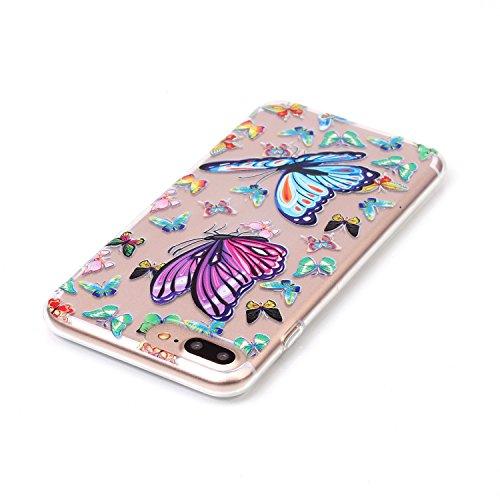 iPhone 8 Plus Hülle,iPhone 7 Plus Hülle,Schutzhülle iPhone 8 / iPhone 7 Plus Silikon Hülle,ikasus® TPU Silikon Schutzhülle Case Hülle für iPhone 8 Plus / 7 Plus,Durchsichtig mit Blumen Rebe Schmetterl Blau Lila Schmetterling
