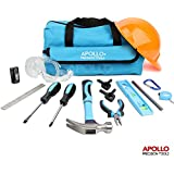 Apollo 15 Piece Children's Tool Kit with Real Hand Tools including Safety Goggles and Play-Work Hat - All in a Convenient Storage Bag