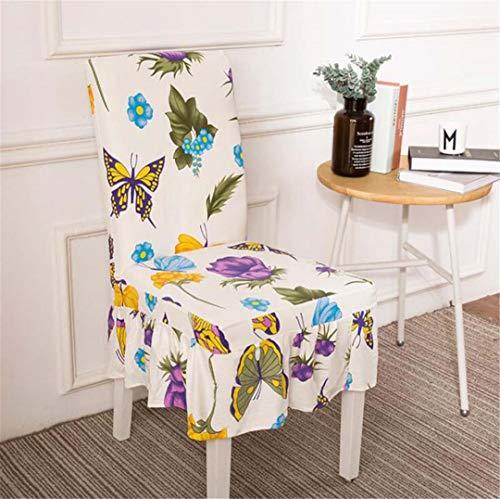 CHSKFFW Bunter Druckstuhl bedeckt Spandex-elastische weiche Abdeckungen Anti-Schmutz-speisender Stuhl-Abdeckungs-Fall für Bankett-Partei MJ042 4 universal Sizes - Leder Deckt Stuhl