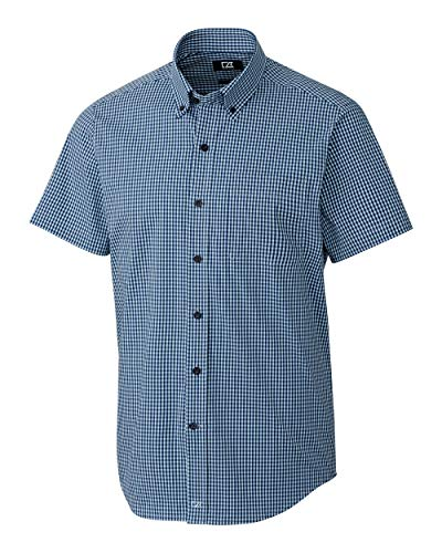 Cutter & Buck Herren Big & Tall Short Sleeve Anchor Gingham Up Shirt Button Down Hemd, Zen Blue, 3XT - Big And Tall Baumwolle Kleid Shirt
