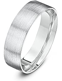 Theia Sterling Silver Super Heavy Flat Court Shape Matted Wedding Ring