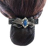 Damen Elastische Brötchenbezug Hairnets Haar Snood Bowtie Mesh, Elegantes Schwarzes, feines Mesh